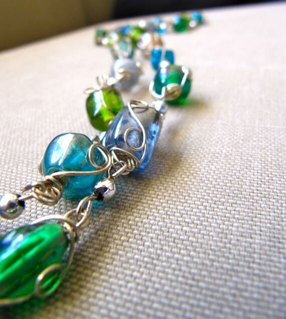 Blue and Green Wire Wrapped Necklace