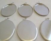 Silver Bezel Pendant Settings 25mm x 18mm (6)