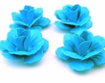 Glossy Blue Enameled Metal Rose Cabs Medium (4)