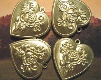 Brass Heart Rose Lockets (6)