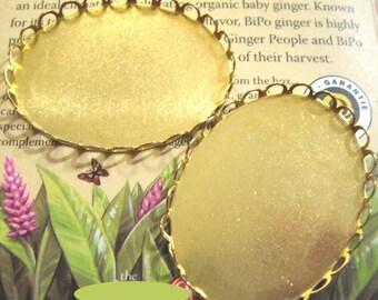 Brass Bezel Lace Edge Oval Pendant Settings - 40x30mm (2)