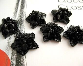 Vintage Japanese Black Flower Star Cabochons (10)
