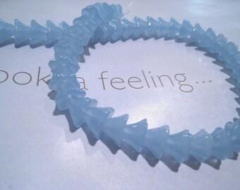 Sky Blue Glass Trumpet Flower Beads - Small (25)