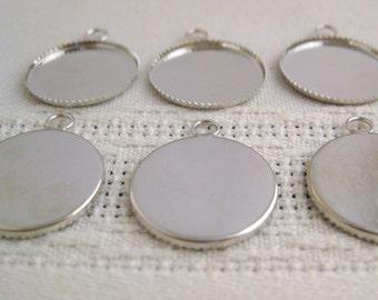 "Single loop Silver Bezel Pendant Settings 1"" Round (30)"