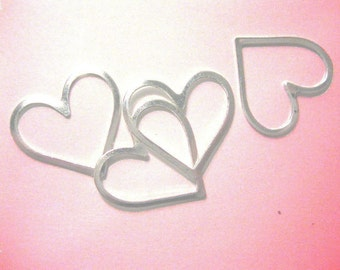 Silver heart pendant charms (4)