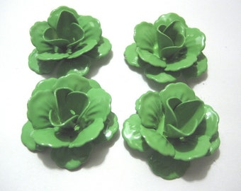 Green Enameled Metal Rose Cabs Medium (4)