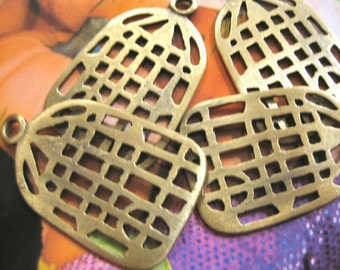 Vintage Brass Bird Cage Charms (10)