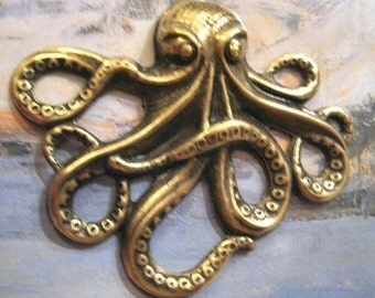 Brass Octopus Charm Pendant Large (2)