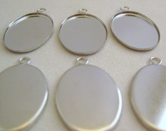 Silver Bezel Pendant Settings 25mm x 18mm (6)