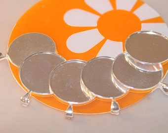 Silver Bezel Pendant Settings Round 25 mm (25)