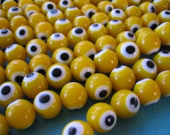 Mod, Glass Yellow Beads Round (10)