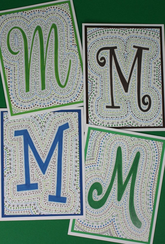MONOGRAM Note Cards - Caurie Cove color scheme - Package of 4 Cards (all 26 letters available)