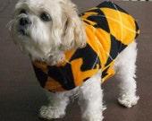Dog Coat Fleece Tennessee Argyle Black Orange White Premium Quality Custom Made