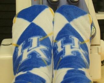 Fleece Socks Premium Fabric Kentucky Argyle Blue White Wildcats