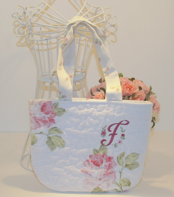 Little Girl Purse Quilted Pink Rose with Monogram Flower Girl Gift Wedding Easter