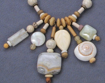 Necklace, a personal talisman necklace, one of a kind,stone,shell