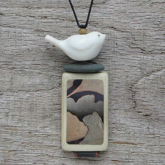 Bird Necklace, Mixed Media Necklace,Meditations necklace, art to wear, handmade,nature,zen