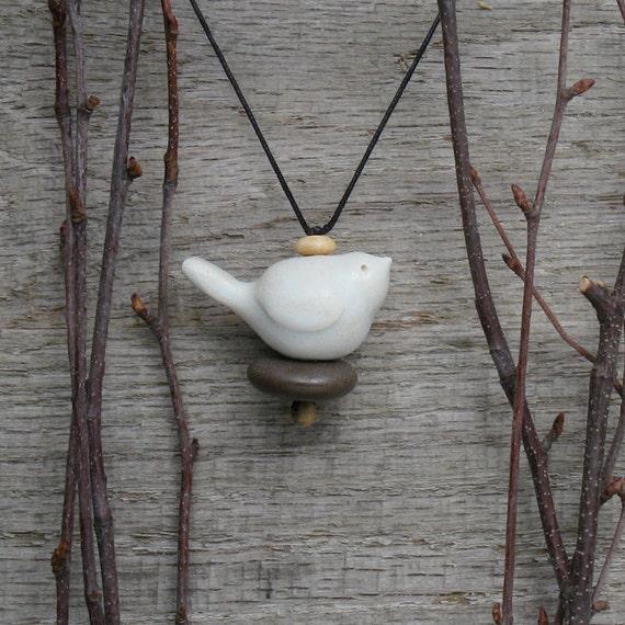 RESERVED FOR JANE Bird necklace,Beach Stone Necklace, spirit bird ,handmade ceramic bird, a personal talisman,mixed media