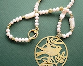 Freshwater Pearl Necklace with Goldplate Bird and Leaves Pendant