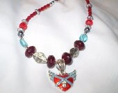 Winged Heart Necklace Silver Blue Red
