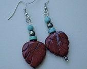 Red Jasper and Turquoise Leaf Earrings