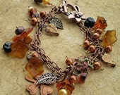 Bracelet Charm Copper Flowers Toggle