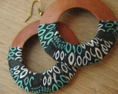 Large light big natural wood hoop earrings batik style cotton wrapped bright colorful  aqua turquoise white -WALKABOUT-