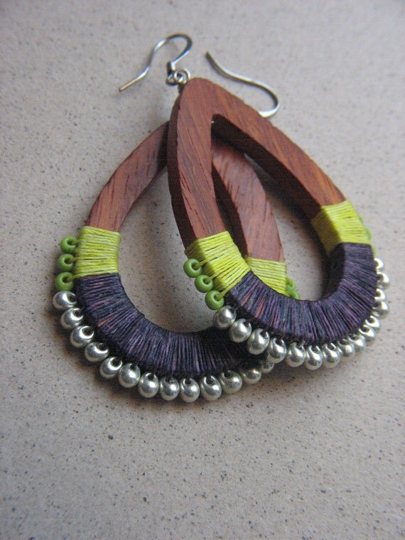 CARAVAN- Bright Lime Chartruese and Purple Ethnic Gypsy Wrapped Linen Wooden Teardrop Beaded Earrings with Lime and Silver Beads