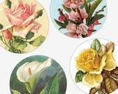 Elegant Victorian Florals and Flowers - One Inch (1x1) Round Pendant images - Digital sheet-pendant - Buy 2 Get 1 Free