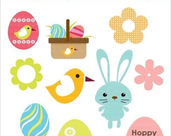 Easter Design elements-Cute bunnies and funky eggs- Digital clip art-PNG files-Perfect for invitations,cards,notices,scrapbooking and more