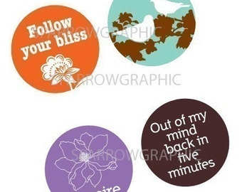 Quotes and Sayings Pt. 2  - Large Round Images - 2.25 Inch (57mm) - Great for Pocket Mirrors and Magnets - Digital Sheet - Instant Download
