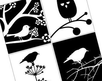Black and White Birds - Scrabble Size Printable Images -Buy 2 Get 1 Free -Instant Download - .75x.83 Inch - Digital File -Automatic Download