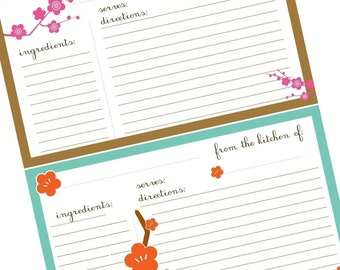 Sakura Blossom Recipe Cards- Printables- Four Handmande Designs
