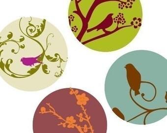 1X1 (One) Inch Round tile Images - Retro Springtime Images - Digital sheet-PDF-pendant images-BUY 2 Get 1 FREE