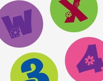 Groovy Flower Alphabet - (1x1) One Inch Round Pendant Images - Digital sheet-pendant - Buy 2 Get 1 Free