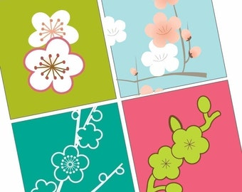 Gorgeous Japanese Blossoms - Scrabble tile pendant images - BUY 2 Get 1 FREE- digital sheets