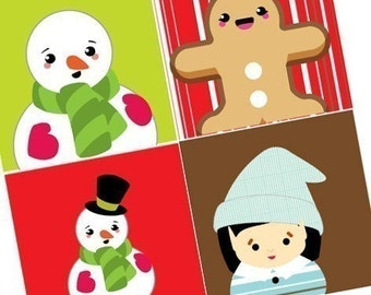 Charming Snowmen and Friends - XMAS Scrabble size pendant images - Digital Sheet - Buy 2 Get 1 Free