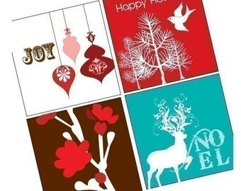 Scrabble Tile Images - Digital Collage Sheet - Holiday Cheer - BUY 2 Get 1 FREE