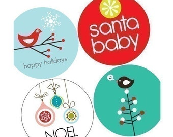 VIVID Christmas - (1x1) One Inch Round Pendant Images - Magnets, Stickers, Buttons -Digital Collage -Buy 2 Get 1 Free -25mm Bottle Cap Image