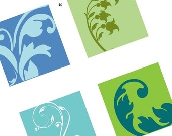 Funky Victorian Elements in Aqua-lime - (1x1) One Inch Pendant Images - BUY 2 GET 1 FREE