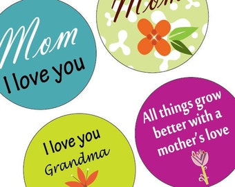Funky Mother's Day - One (1x1) Inch Round Pendant Images - Digital Collage Sheet -BUY 2Get 1 FREE