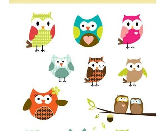 Owl Parade - Design elements - Cute Owls - Digital clip art - PNG files - Perfect for invitations, cards, notices, scrapbooking and more.