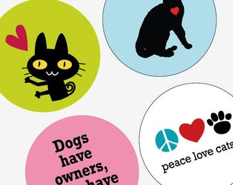 Cute Cat Love - 1.313 Inch (33mm) Digital Collage Printable Sheet For Badges and Buttons - Instant Download - Buy 2 Get 1 Free - Digital