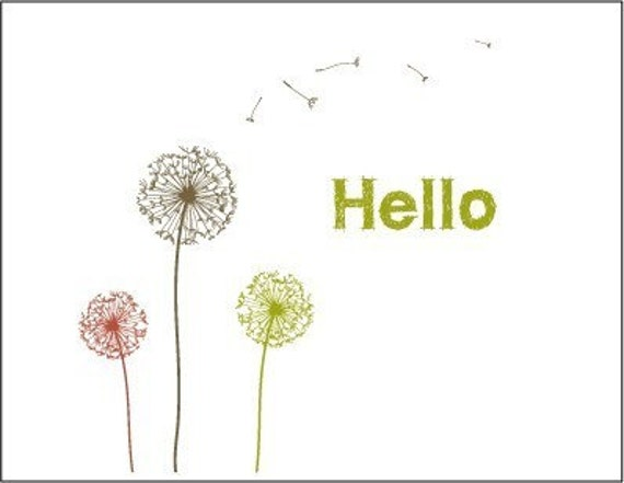 Stationary Kit - Print at home - STYLISH -  HELLO Dandelion - pdf template- Note Cards - envelope-letterhead-gift tag- enclosure cards