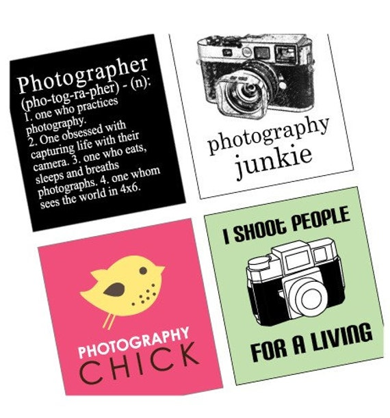 Phunky Photo and Photographer - Scrabble Size Printable Images - Buy 2 Get 1 Free - Instant Download - .75x.83 Inch - Digital File