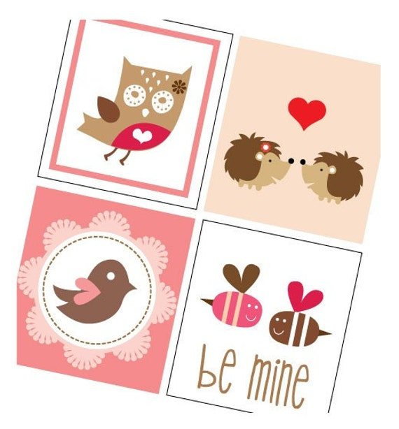 Valentines Day Kisses and Hearts - One Inch (1x1) Tile Images - Beautiful Reds and Pinks - Buy 2 Get 1 Free