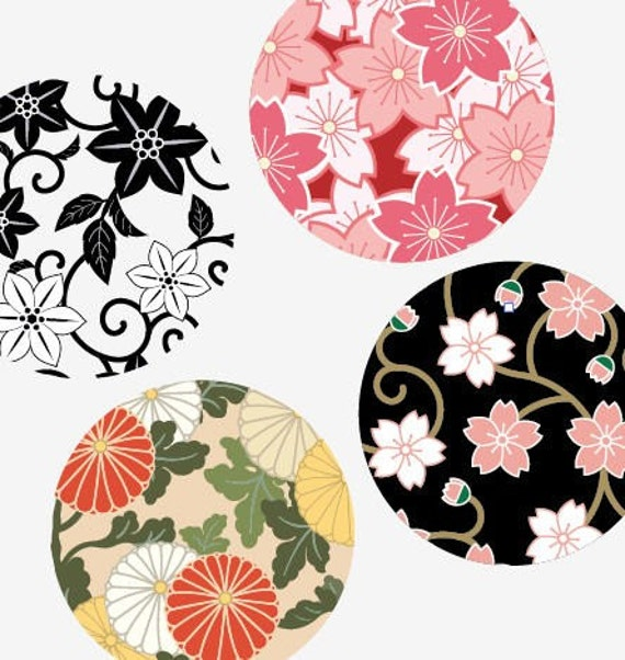One inch Round pendant images - Traditional Japanese Patterns - 1x1 Inch Images - Printable Digital Collage Sheet - Buy 2 Get 1 Free