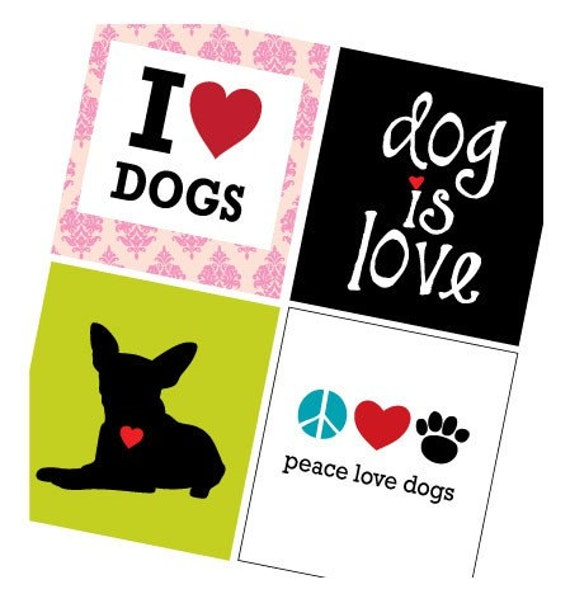Dog Is Love  - One (1x1) Inch Pendant Images - Digital Sheet - PDF - Buy 2 Get 1 Free