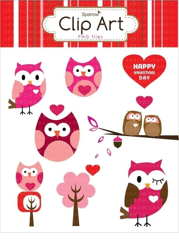 Sweet Valentine Owls Digital Clip Art Use For