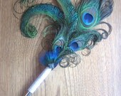 Custom Order Wedding Bridal Guest Book Pen with Peacock  Feathers